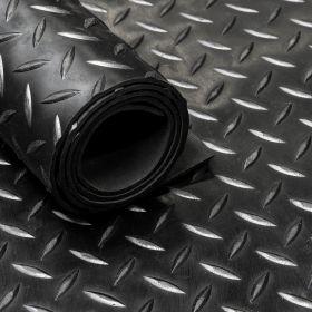 rubbermat op rol zwart rubber loper diamant motief