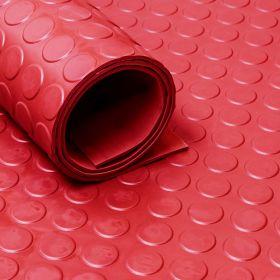 Rubber loper / rubbermat op rol Noppen 3mm rood - Breedte 120 cm - Geurloos