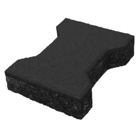 ⚠️ Gummiziegel - 43 mm - H-Form - Schwarz - Rutschfester Fallschutz-Bodenbelag für Sport-, Spielplatz & Stall
