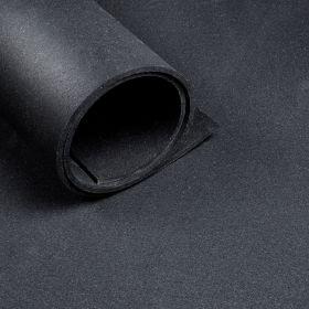 Fitnessboden Schwarz - Bodenmatte pro ganzem Meter - 125 cm breit, 6mm dick